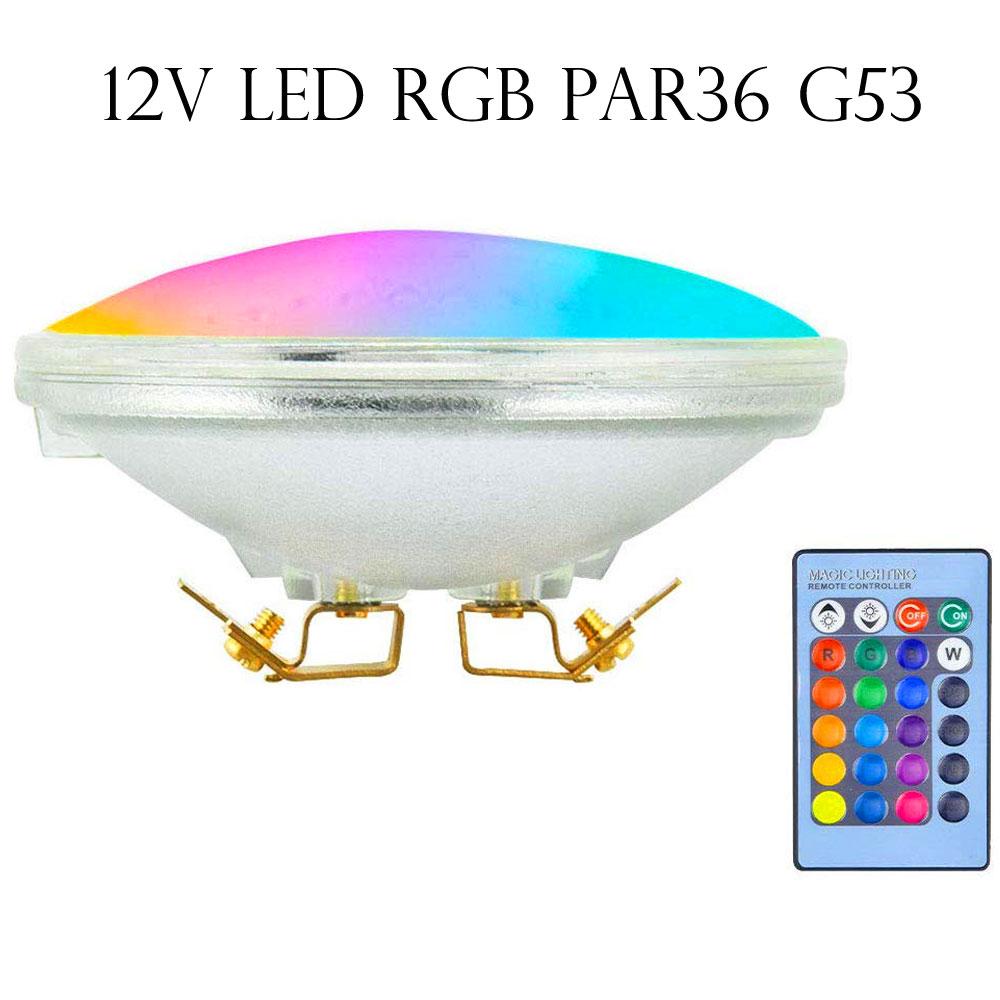 RGB PAR36 LED Spotlight, 10W 12V Flood Light Landscape PAR36 AR111 G53 LED Bulb Waterproof IP65 RGB Color Changing PAR36 Light