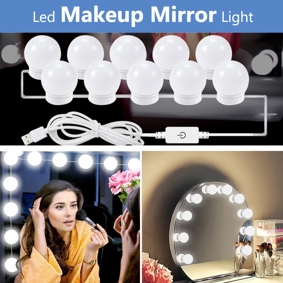 5V USB Hollywood Mirror Light With Touch Dimmer Makeup Table Mirror Led Light Bedroom Decor 2/6/10/14 Led Bulbs Vanity Light