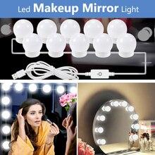5V USB Hollywood światło lustrzane z dotykowa regulacja ściemniania toaletka do makijażu lustro Led Light dekoracja sypialni 2/6/10/14 Led żarówki lampka nad lustro