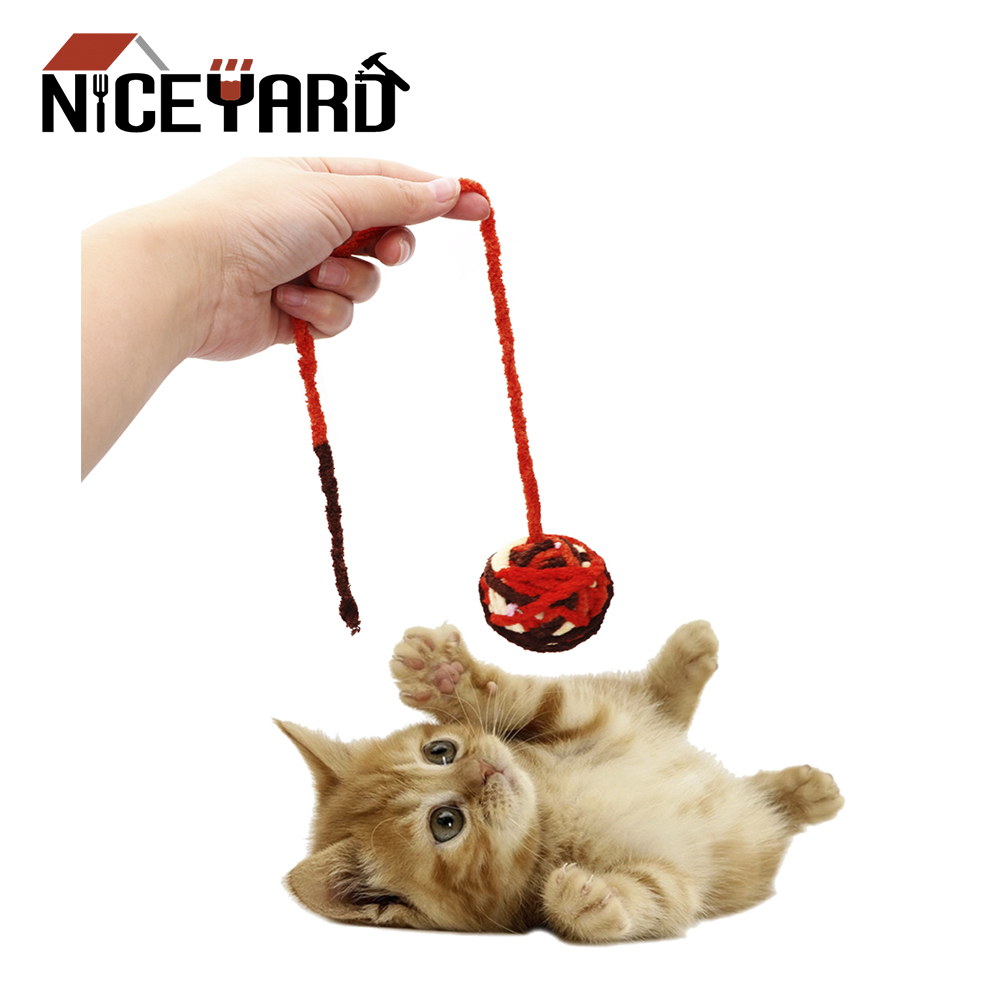 NICEYARD Cat Teaser Cat Toy Rope Weave Ball Chew Scratch Catch Toys Pet Teeth Cleaner Cat Football Training Toy Pet Products image