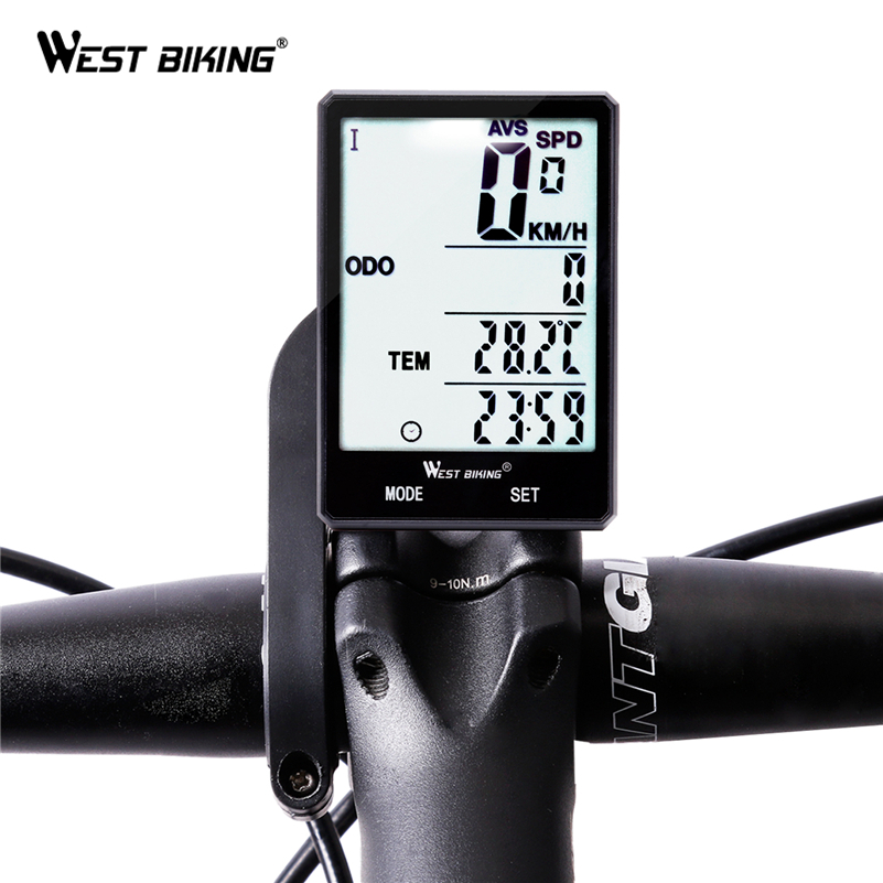 West Biking Wireless Bike Computer Speedometer Odometer Rainproof Bike Measurable Temperature Stopwatch Cycling Bicycle Computer