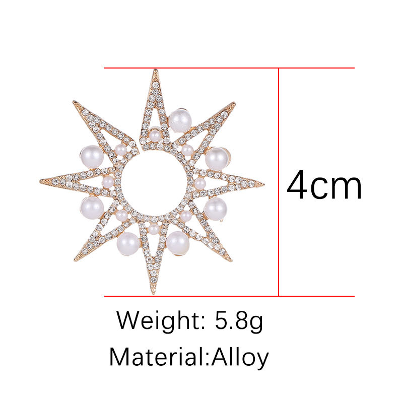 fashion geometric exaggeration earrings pearl luxury noble star sunflower earrings for women big stud earrings in Stud Earrings from Jewelry Accessories