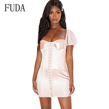 FUDA Short Sleeve Single Breasted Women Bandage Bodycon Sexy Dress New Fashion Hollow Out Female Summer Slim Wear