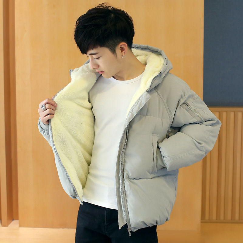 Winter Men Brushed And Thick Hooded Cotton-padded Clothes Korean-style Short Down Jacket Cotton-padded Clothes Trend Coat Cotton