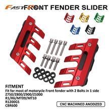 Frente fender slider roda lateral proteção guarda capa para kawasaki yamaha bmw honda z750 z800 z900 z1000 r1 r6 mt 09 10 cbr600