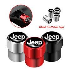 4 pçs carro roda de pneus válvulas haste do pneu tampas ar caso para jeep cherokee compass patriot renegado rubicon wrangler acessórios