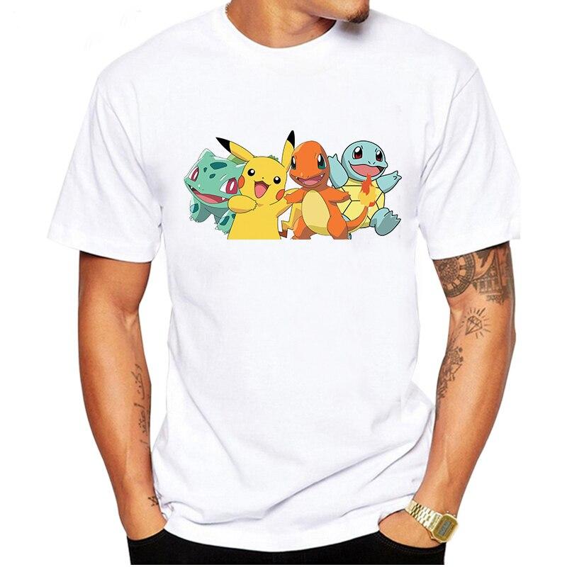LUSLOS Pokemon T Shirt Men Tshirt Streetwear Homme Tee Shirt Graphic T-shirt For Men Summer Short Sleeve White Cartoon Tee Tops