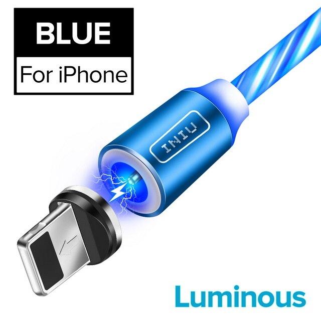 INIU световой поток магнитного освещения USB кабель для iPhone XR X 7 8 микро Тип C зарядное устройство Быстрая зарядка магнит зарядка USB-C тип-c - Цвет: For iPhone Blue