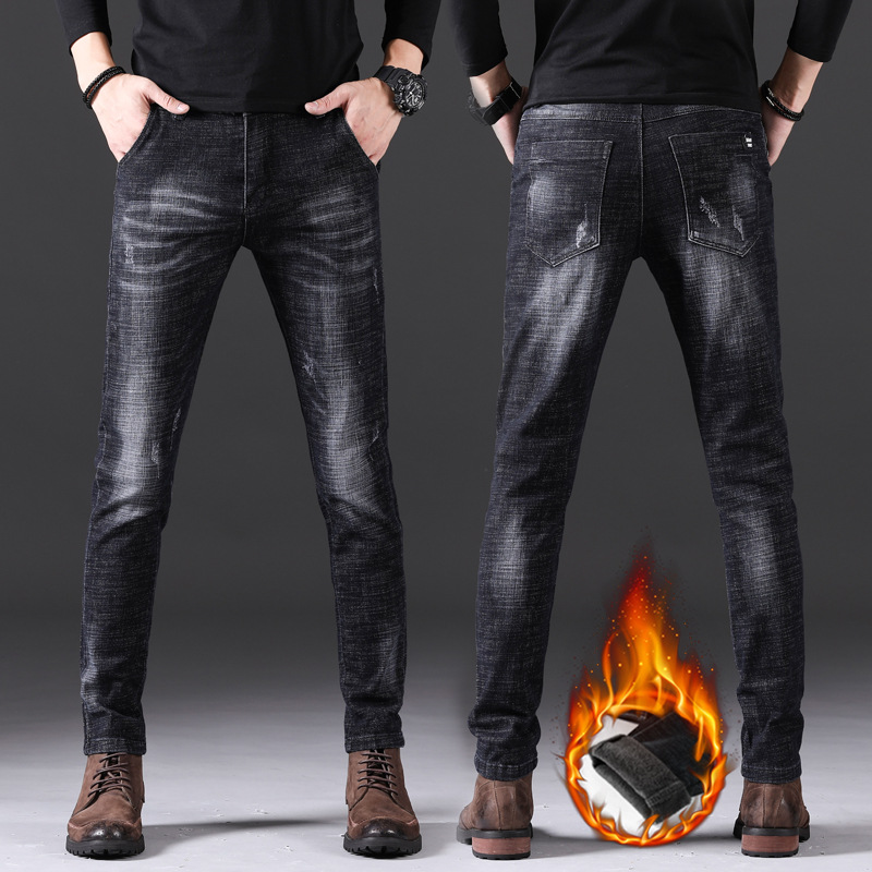 19 Winter New Style MEN'S Jeans Plus Velvet Warm Casual Straight-Cut Popular Brand Trousers Skinny Slim Fit Youth Men's Trousers