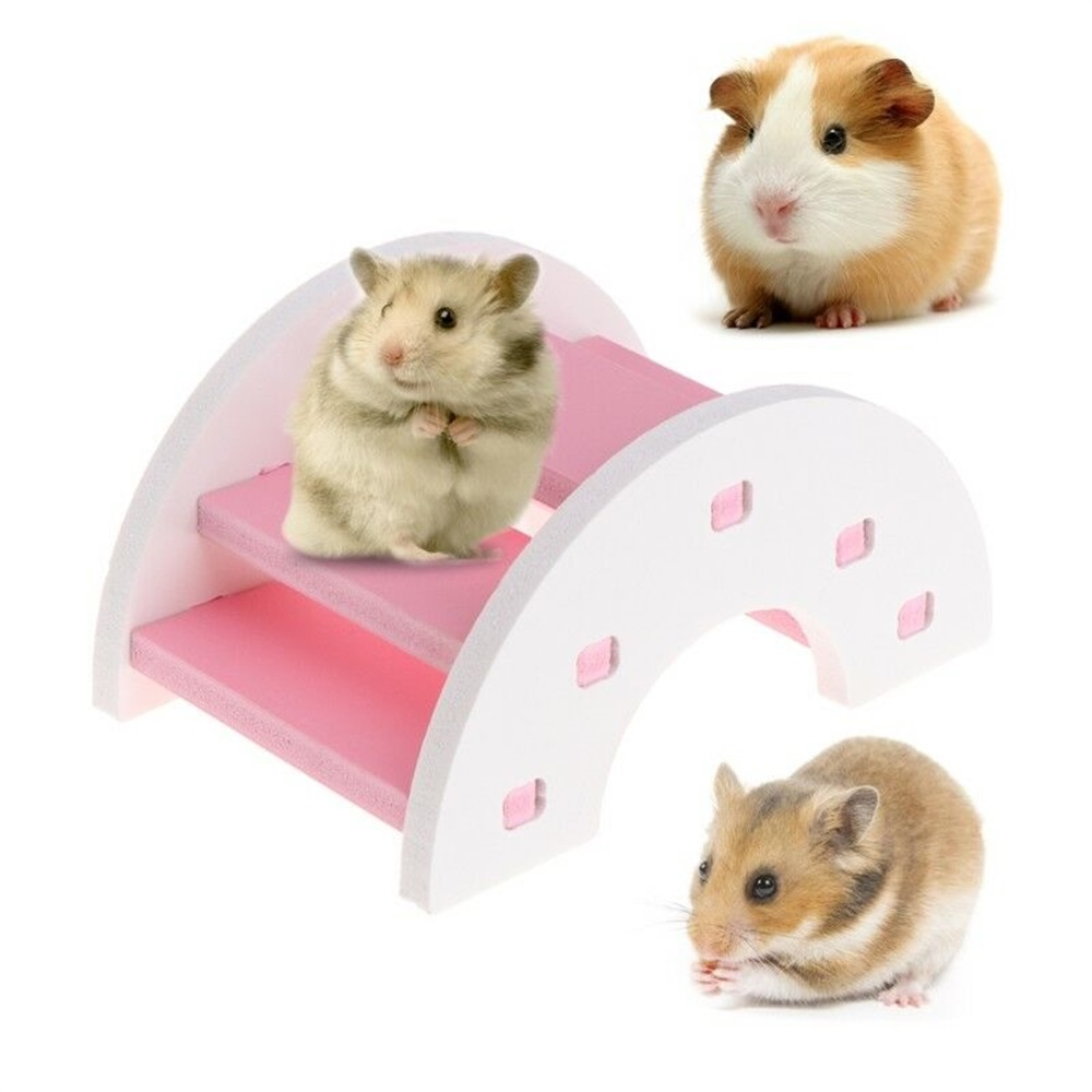 Wooden PVC For Small Animal Pets Guinea Pig Squirrel 1Pc Hamster Funny Toy Bridge Shape Seesaw