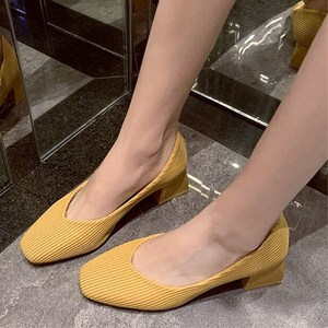 EOEODOIT 5 cm Heel Square Toe Pumps Shoes Knit Fabric Casual Office Lady Work Heels Shoes Med Heel Spring Autumn Dress Shoes