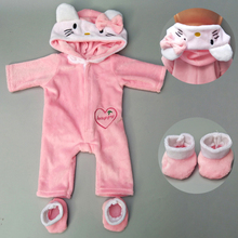 Doll clothes for 43cm Baby doll coat Pink cat outfit set 18 inch reborn baby hoodie suit with toy wear