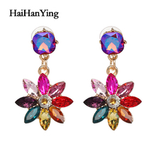 New Rainbow Color Sunflower Womens Earrings Exaggerated Oversized Bohemian Drop Luxury Jewelry Fashion Manifesto