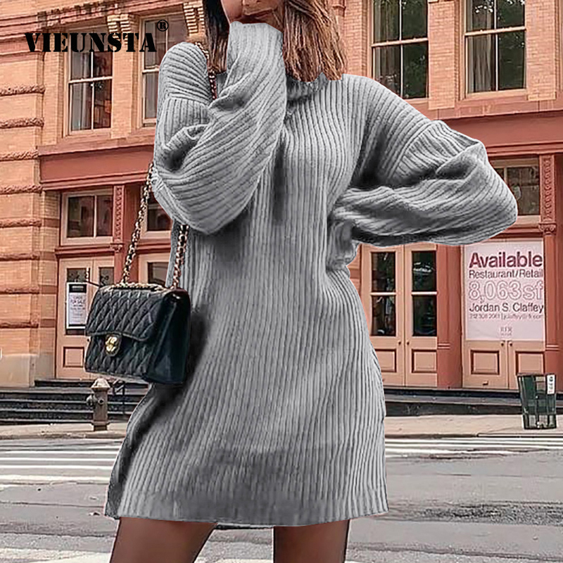 VIEUNSTA 2XL Autumn Winter Rib Knit Warm Sweater Dress Women Turtleneck Long Sleeve Party Dress Sexy Pullover Mini Dress Vestido