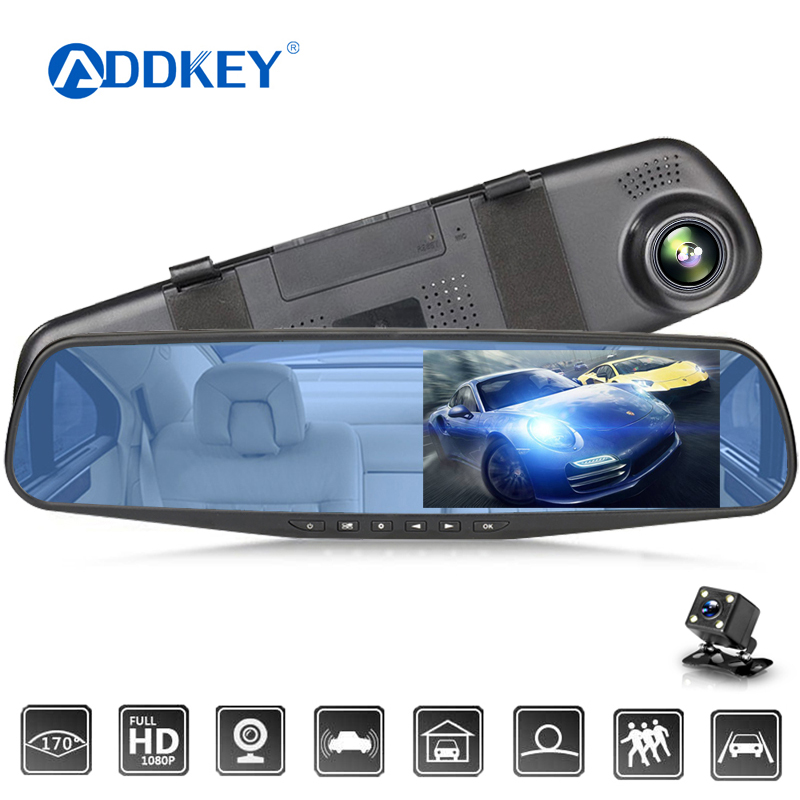 ADDKEY Car Dvr 4.3 Inch Camera Full HD 1080P Automatic Camera Rear View Mirror With DVR And Camera Recorder Dashcam Car DVRs