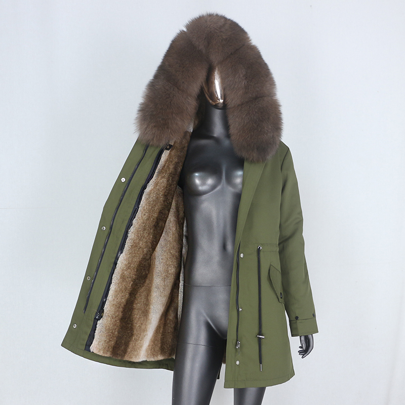 Hdfe2ee7da4da4f13970912e556776377W CXFS 2021 New Long Waterproof Parka Winter Jacket Women Real Fur Coat Natural Raccoon Fur Hood Thick Warm Streetwear Removable