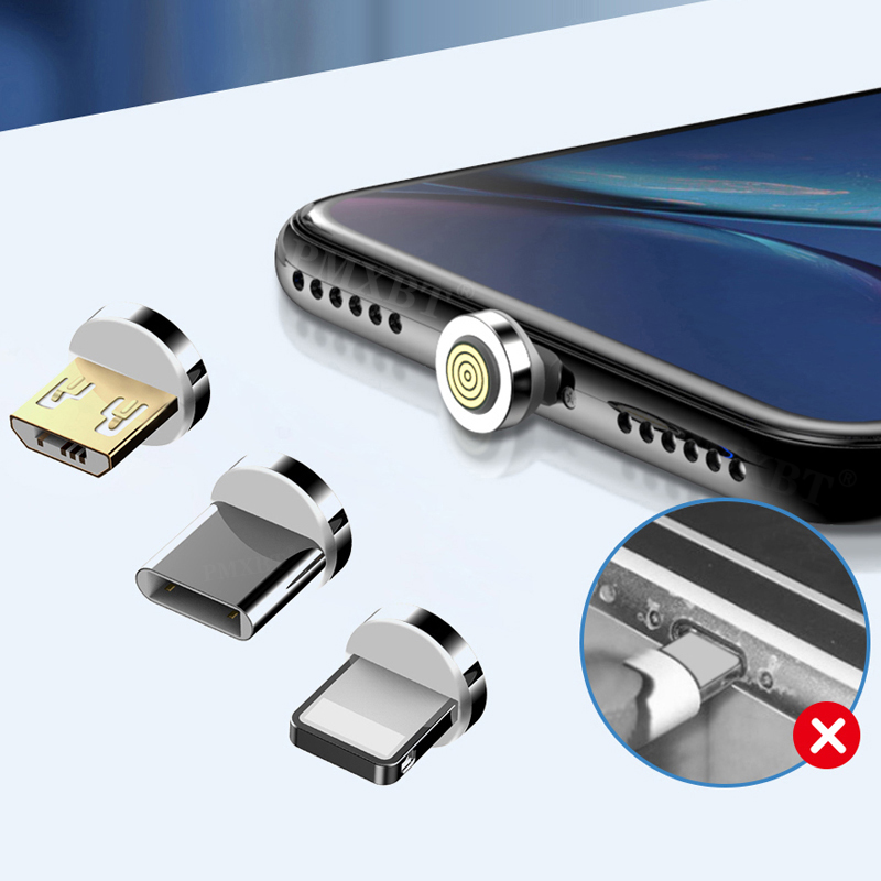 Round Magnetic Cable Plug Micro USB/Type C/8 Pin Convert Adapter For iPhone Mobile Phone Dust Plugs Magnet Change Accessories