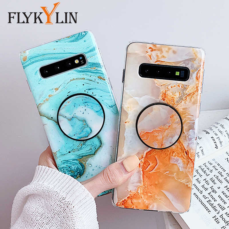 FLYKYLIN Glad Marmer Case Voor Samsung Galaxy S8 S9 S10 Plus S10e Back Cover op Soft TPU Siliconen Telefoon Coque met Houder Stand