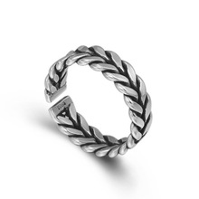 цена на 925 Sterling Silver Adjustable Weave men's Rings  Initial anillos mujer bague femme Ring