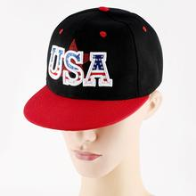 Baseball Hip Hop Cap for Women Men USA Embroidery Flat Red Brim Caps American Flag Hat Headwear Outdoor Sport Adjustable Sun Cap