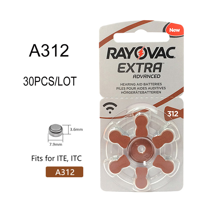 30 Pcs Rayovac Extra Hearing Aid Batteries Zinc Air Battery A312 312A ZA312 312 PR41 S312 PR41 Hearing Aid Battery A312