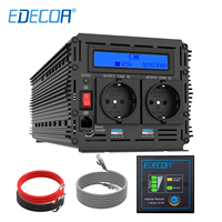 EDECOA power inverter 3000W 6000W modified sine wave DC 12V AC 220V 230V with remote controller and 5V 2.1A USB LCD display
