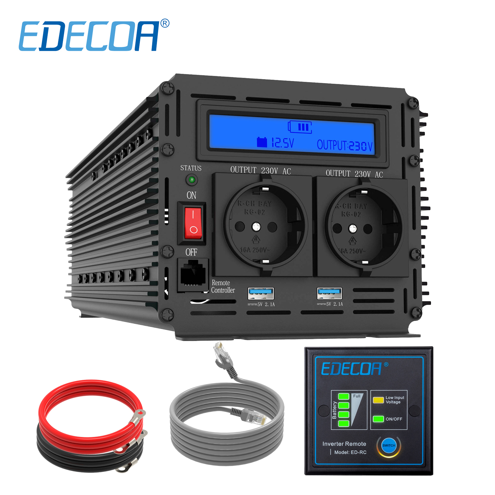 EDECOA power inverter 3000W 6000W modifizierte sinus welle <font><b>DC</b></font> 12V <font><b>AC</b></font> 220V <font><b>230V</b></font> mit fernbedienung controller und 5V 2.1A USB LCD display image