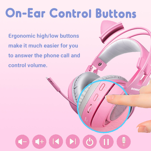 SOMIC Pink Gaming Headset 7.1 Surround-Sound G951 Cat Ear Stereo Noise Cancelling Head Phone Vibration LED USB Headsets for Girl 2