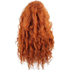 Image 4 - Anogol ücretsiz kısmı cesur Merida peruk uzun turuncu derin dalga yüksek sıcaklık Fiber sentetik saç prenses Cosplay peruk cadılar bayramı için