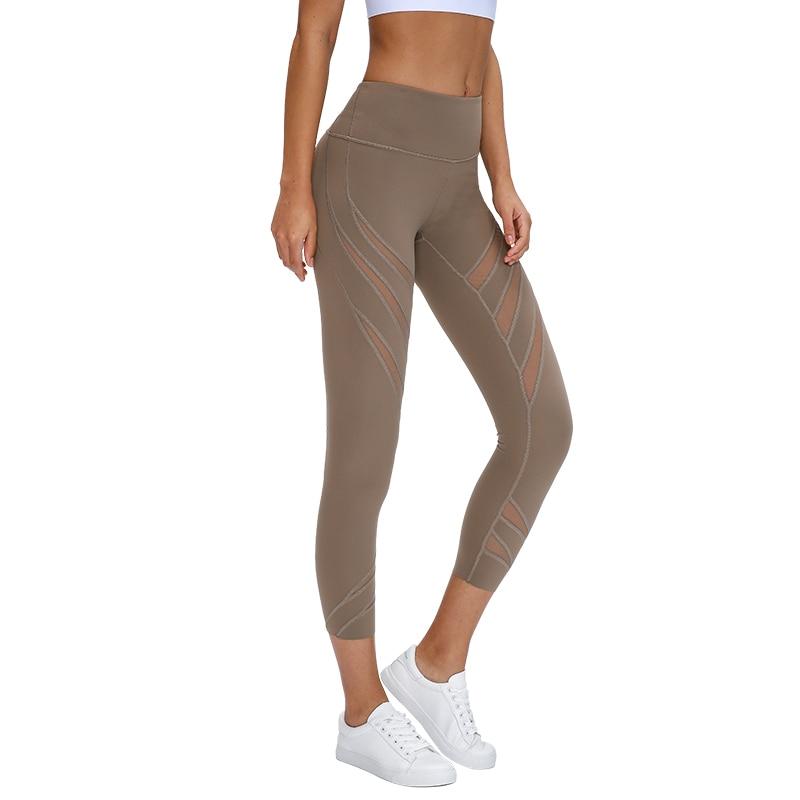 Soft Naked-Feel Mesh Yoga Capri Athletic Fitness Leggings Women High Waist Gym Sport Tights 4 Way Stretch Running Pants 21''