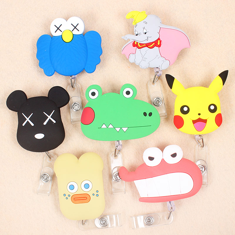 Cartoon Bear Large Size Retractable Creative Plastic Badge Holder Reel Student & Nurse Exhibition Enfermera Name Card Chest Card