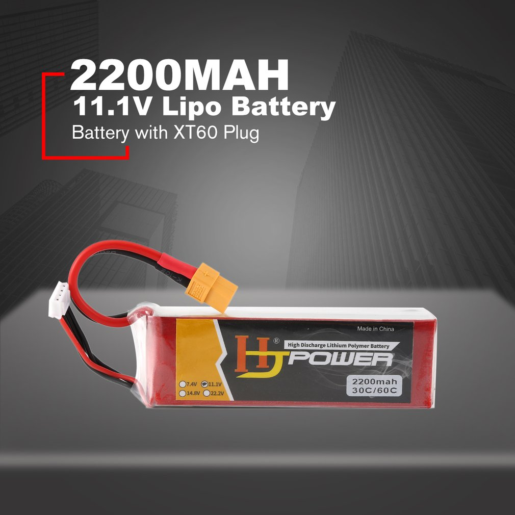 HJ 11.1V 2200MAH 70C 3S Lipo Battery XT60 Plug Rechargeable For RC Racing Drone Helicopter Car Boat Model