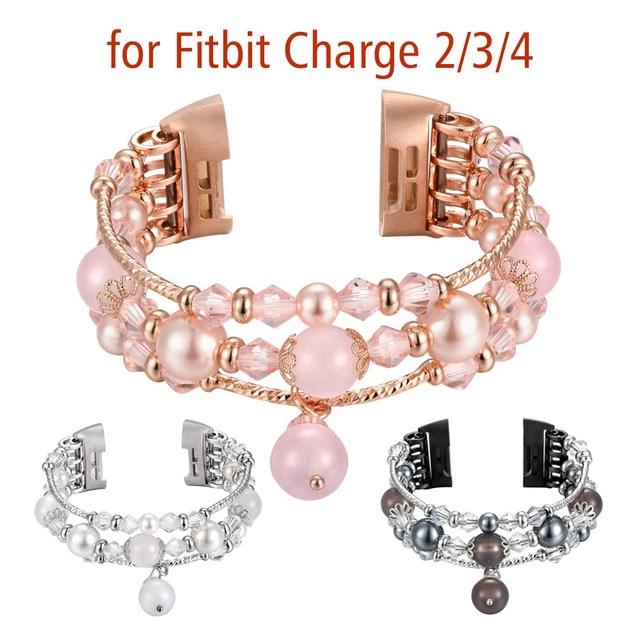 سوار ل Fitbit Charge 2 3 4 استبدال العصابات بلينغ اليدوية مطرز مطاطا الإكسسوار الفرقة للمرأة حفل زفاف 2020