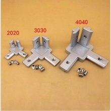 1 pçs/lote L tipo suporte 3-dimensional 2020 3030 4040 Ranhura T 3-way suporte do Conector de canto Perfil De Alumínio Conector Interior