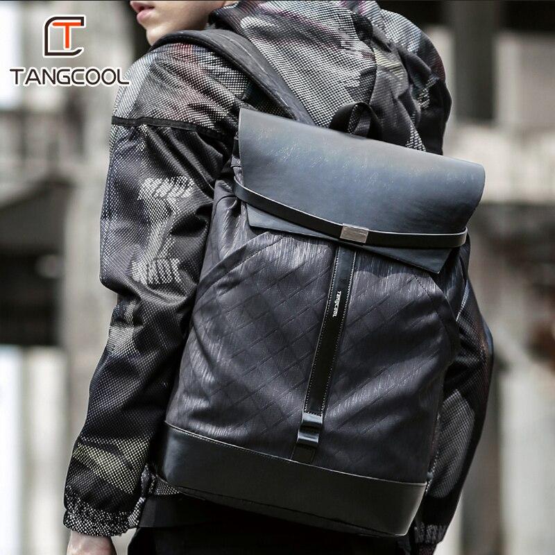 Tangcool Men15.6 pouces sac à dos étanche sac à dos mode PU sac de voyage en cuir sac d'école décontracté sac en cuir