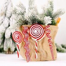 Śliczne twardy cukierek w kształcie laski wiszące ozdoby świąteczne wisiorek ozdoby na choinkę dla dom nowy rok Navidad 2020 dekoracje świąteczne