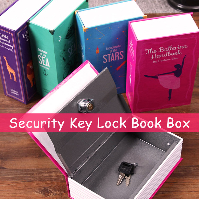 New Listing18x11.5x5.5cm Key Lock Hidden Safe Box Strongbox Steel Simulation Book Home Office Money Phone Safe Storage Money Box
