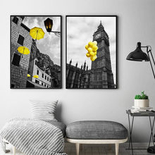 Europe City Scenery Yellow Retro Picture Home Decor Print Poster Nordic Canvas Painting Living Room Bedroom Wall Art Painting(China)