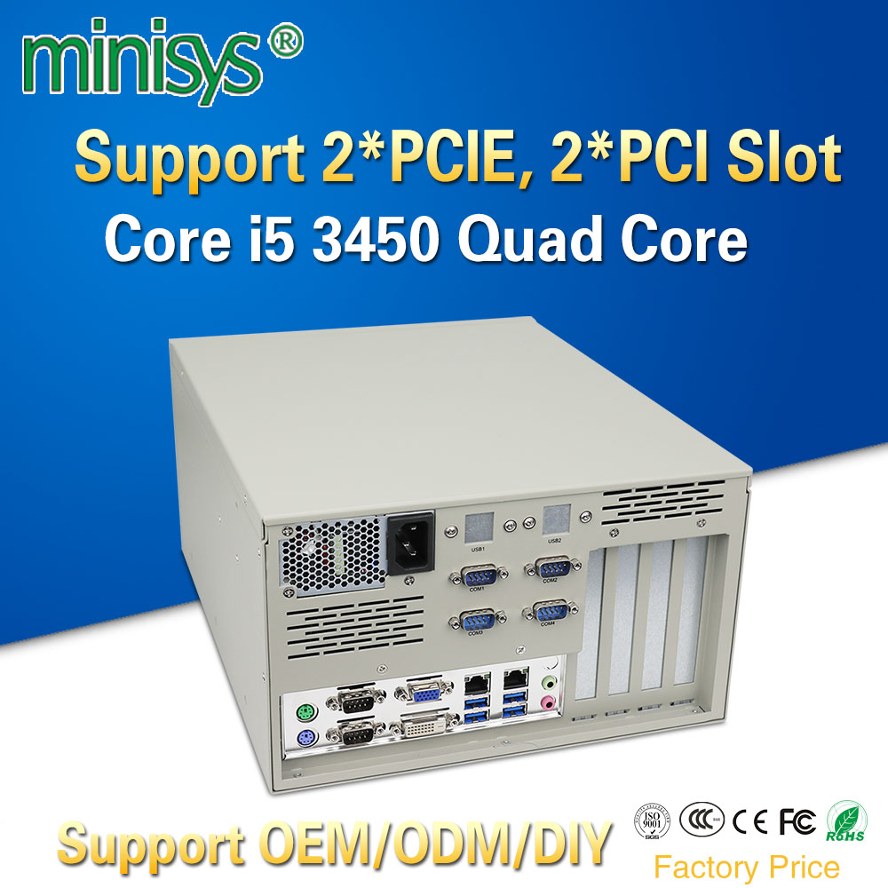 Minisys 19 Inch Rack Mount Server Intel I5 3450 Quad Core Dual Lan 6 COM 4U Industrial Computer With 2*PCIE 2*PCI For Windows Xp