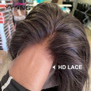 Image 2 - Прямые парики YYong на сетке 1x6 T, парики на сетке спереди со швейцарскими невидимыми узлами, HD парик из человеческих волос на прозрачной сетке спереди