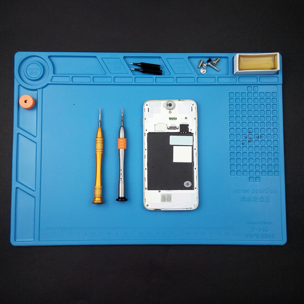 Work Mat Antistatic Silicone Heat Insulation Blue Platform Soldering Phone Maintenance Magnetic Tablet Repair Desktop Pad Soft