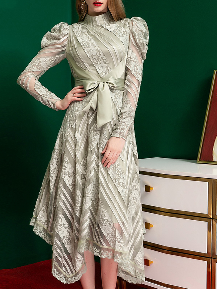2020 Spring High Waist Stand Collar Long Sleeve Elegant Asymmetric Long Dress with Sash