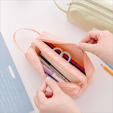 Simple Versatile Double-layer Pencil Case Large Capacity Handle Zipper Oxford Cloth Stationery OUJ99