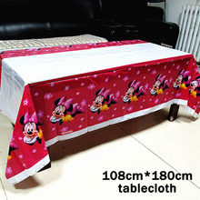 1pcs Pink Minnie Mouse Party Supplies TableCloth Favor Kids Girls Birthday Tablecloths Party Festival Decoration Party Supplie