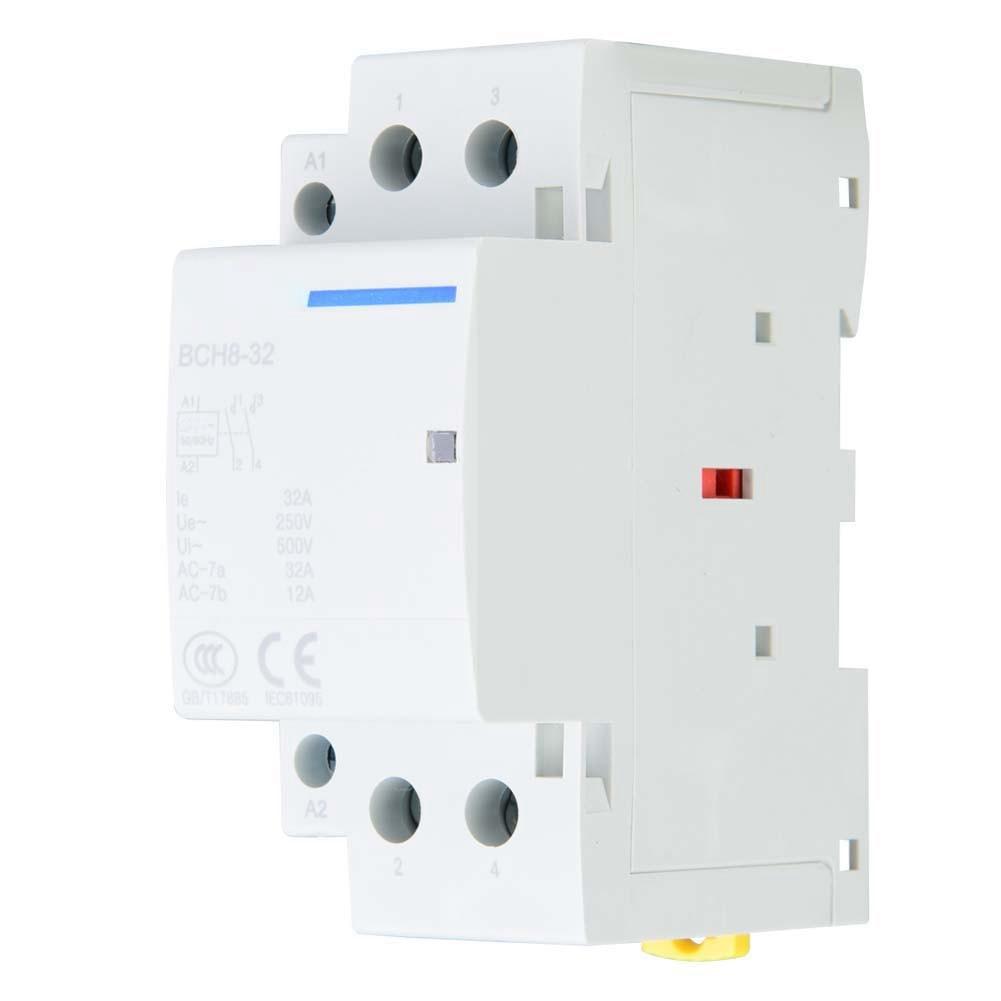 Бытовой контактор переменного тока с DIN-рейкой и низким энергопотреблением, 2P, 32 А, 2NO, 50/60 Гц, 250 В переменного тока