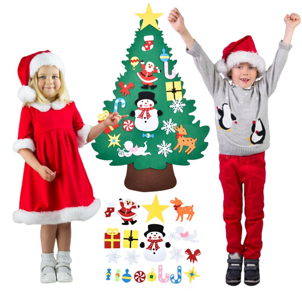 DIY Felt Christmas Tree Artificial Pendants Wall Hanging Decoration Stickers Xmas Home Ornaments Kids Toys
