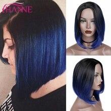 HANNE kısa sentetik peruk Ombre siyah mavi/gri/yeşil/mor Bob peruk yüksek sıcaklık Fiber doğal kadın peruk