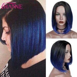 Image 1 - HANNE kısa sentetik peruk Ombre siyah mavi/gri/yeşil/mor Bob peruk yüksek sıcaklık Fiber doğal kadın peruk