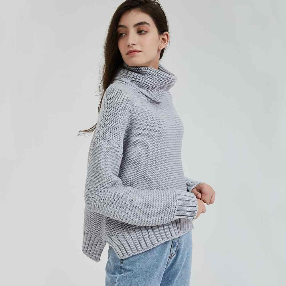Wixra Chunky Sweater Women Turtleneck Women's Knitted Sweaters Autumn Winter For Women Warm Pull Jumper Female