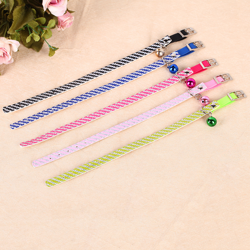Pet Supplies Pu Reflective Tape Bell Cat Collar Colorful Adjustable Dog Collar 12 Packaged In The Shape Of Bars